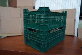 The perforated plastic crate for vegetables and fruits